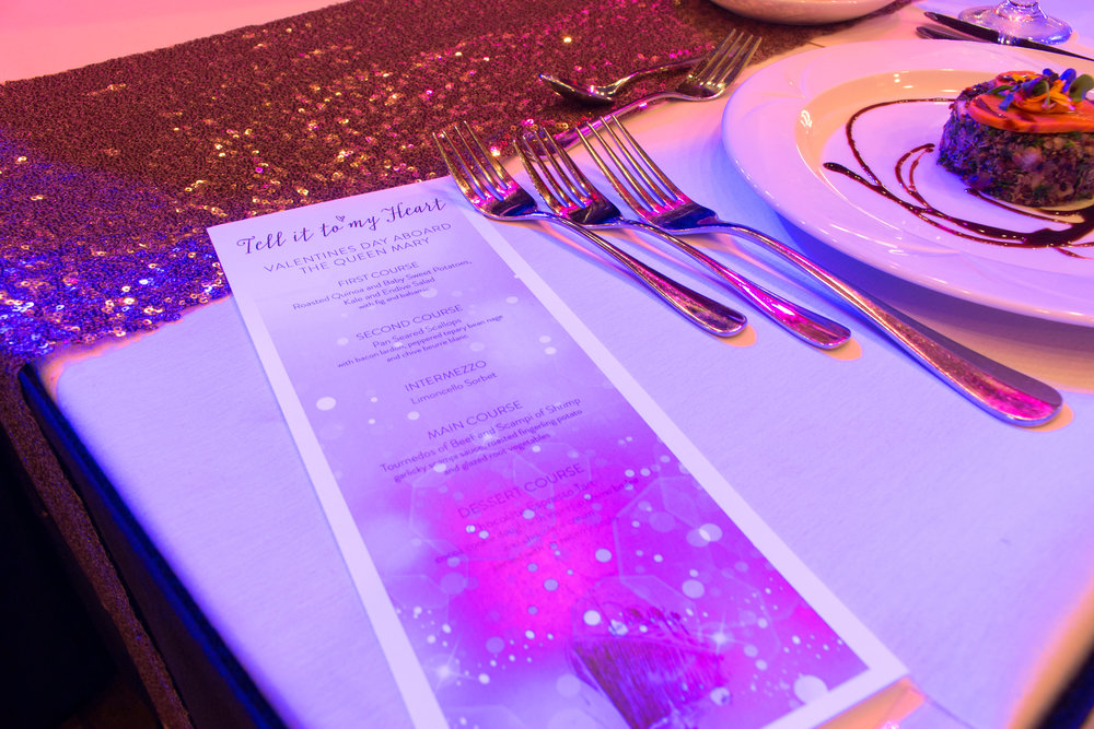 Tell It To My Heart: Valentine's Day Dinner featuring Taylor Dayne  Venue & Catering: The Queen Mary  Photography: Mathew Martinez  AV: DJE Sound & Lighting  Over The Moon Package: Full Design & Coordination