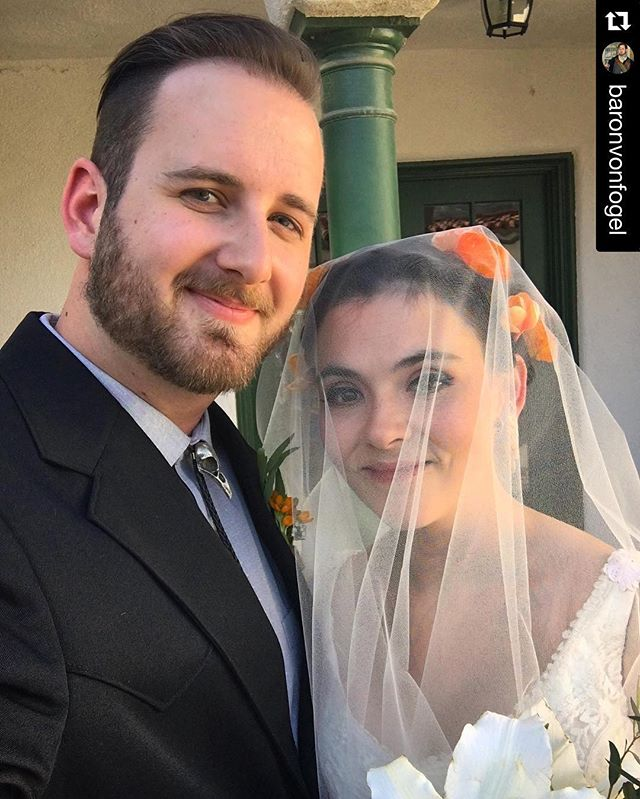 Congratulations to @baronvonfogel & @fearsomebeast for tying the knot yesterday. 10 years of courtship lead up to a magical day surrounded by friends and family! ---- #Repost @baronvonfogel ・・・ Selfie with my beautiful bride!  Thank you to everyone who celebrated with us yesterday - it really was the best day ever! ❤️ #wedding #love #bride #latergram #fogelwalshwedding