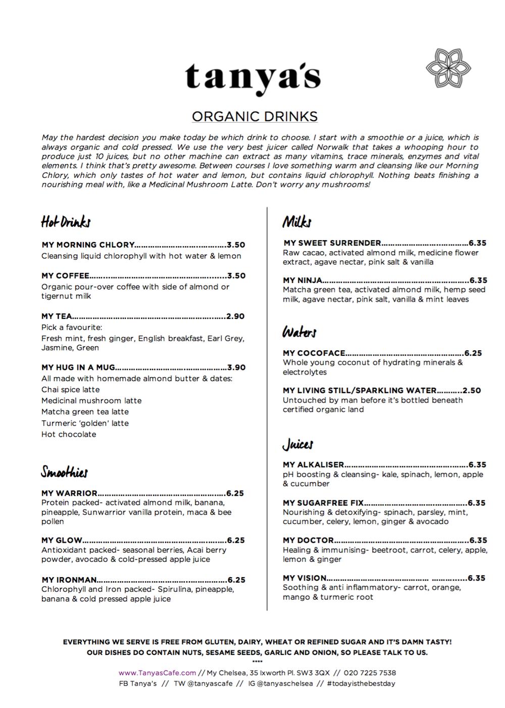 tanya's raw food menu 1