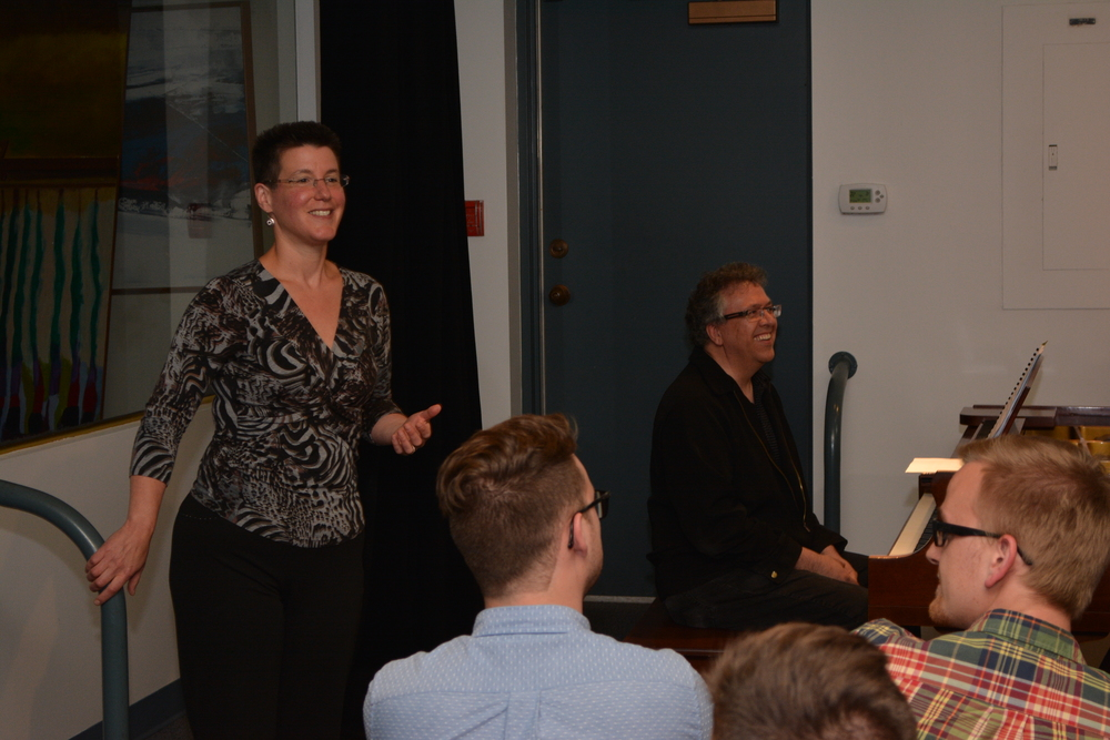 Alison d'Amato and Corey Hamm at a SongSparks event during ASL 2015.  Photo credit: Christoph Rondeau