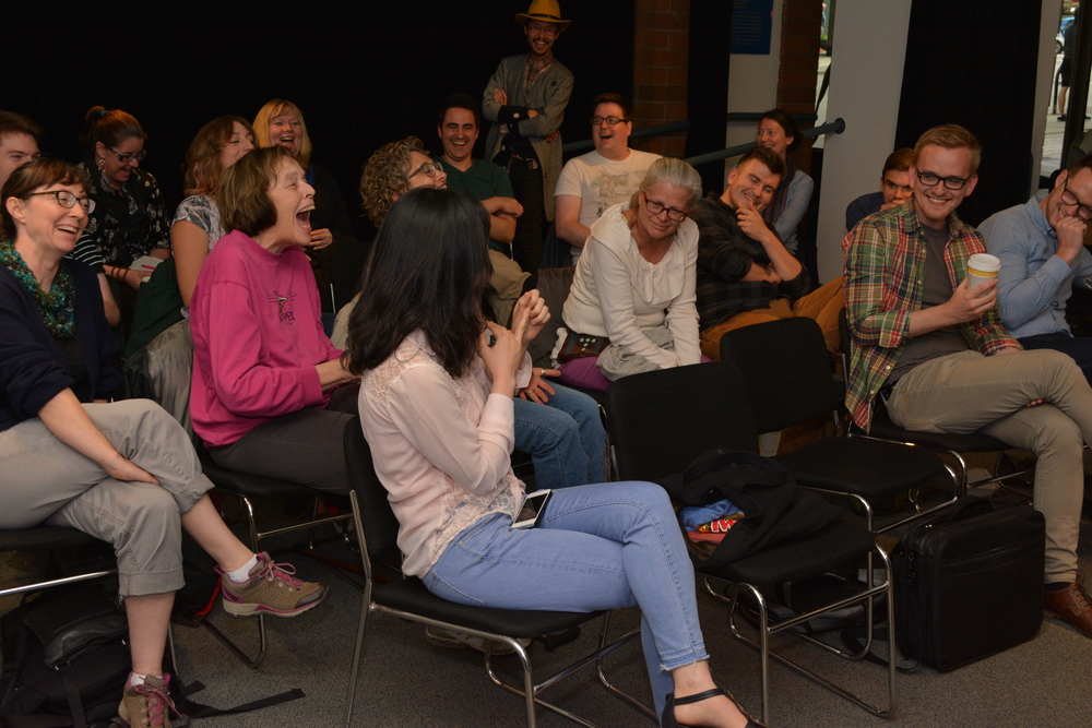 Participant discussion at a SongSparks event during ASL 2015.  Photo credit: Christoph Rondeau