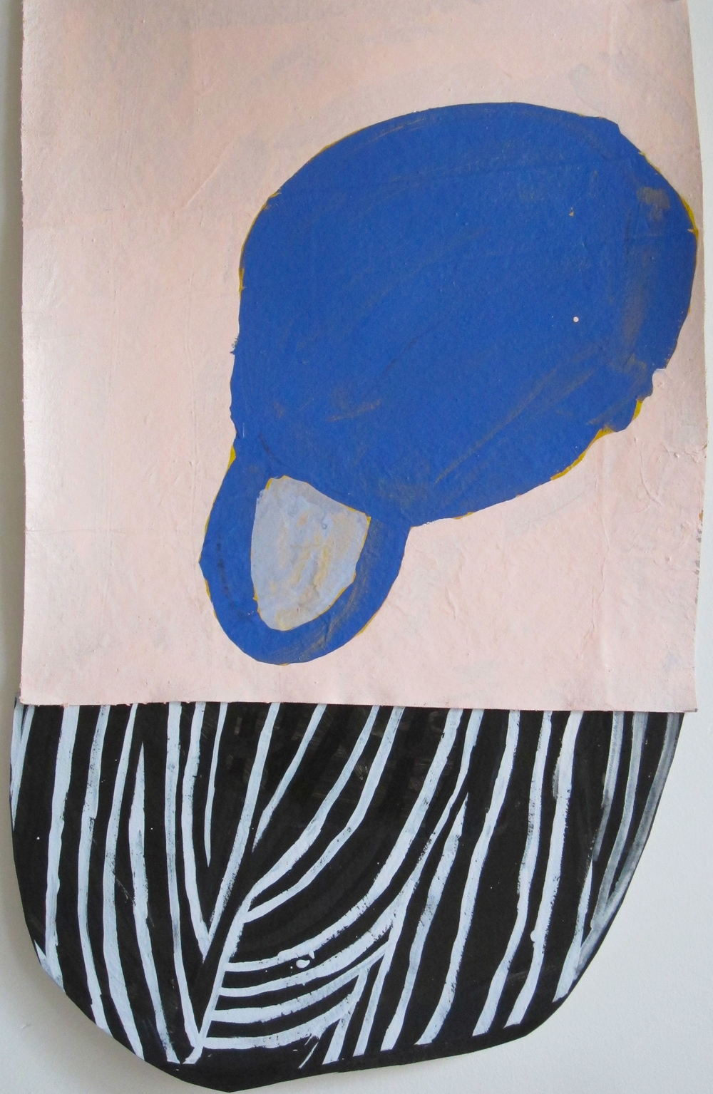 """Blue Shield W/ Blue Mixed media on paper and canvas 22"""" x 27"""""""