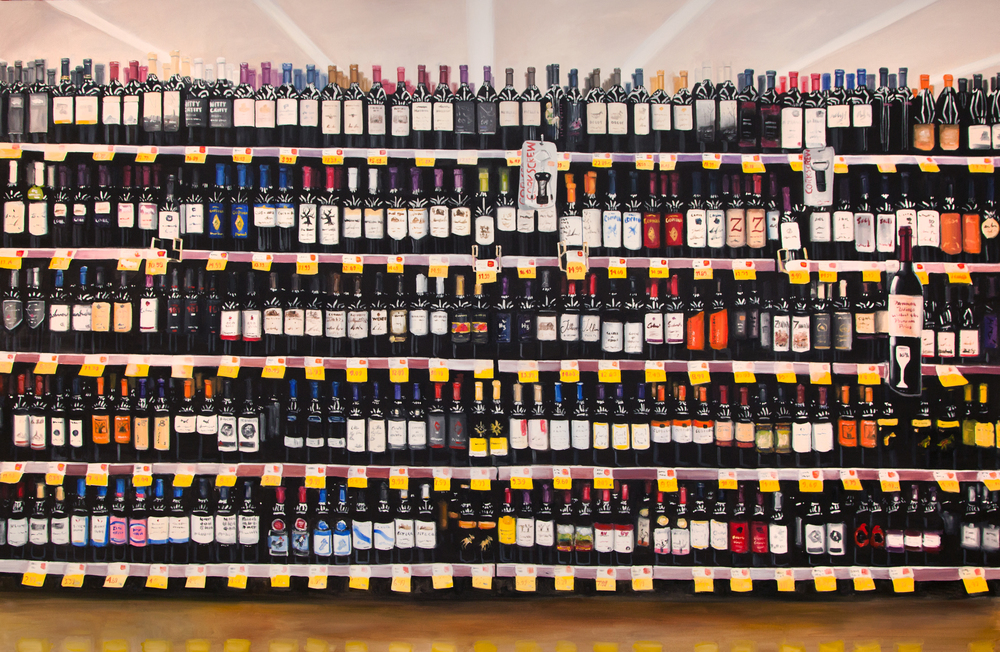 The Wine Aisle, acrylic on canvas, 78 x 120 in.