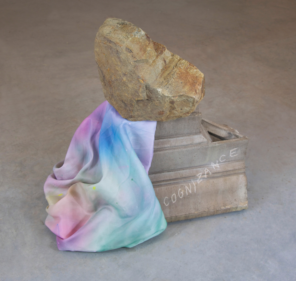 Untitled (Burden) Stone, molded concrete, and hand dyed fabric 24 x 20 x 22 in.