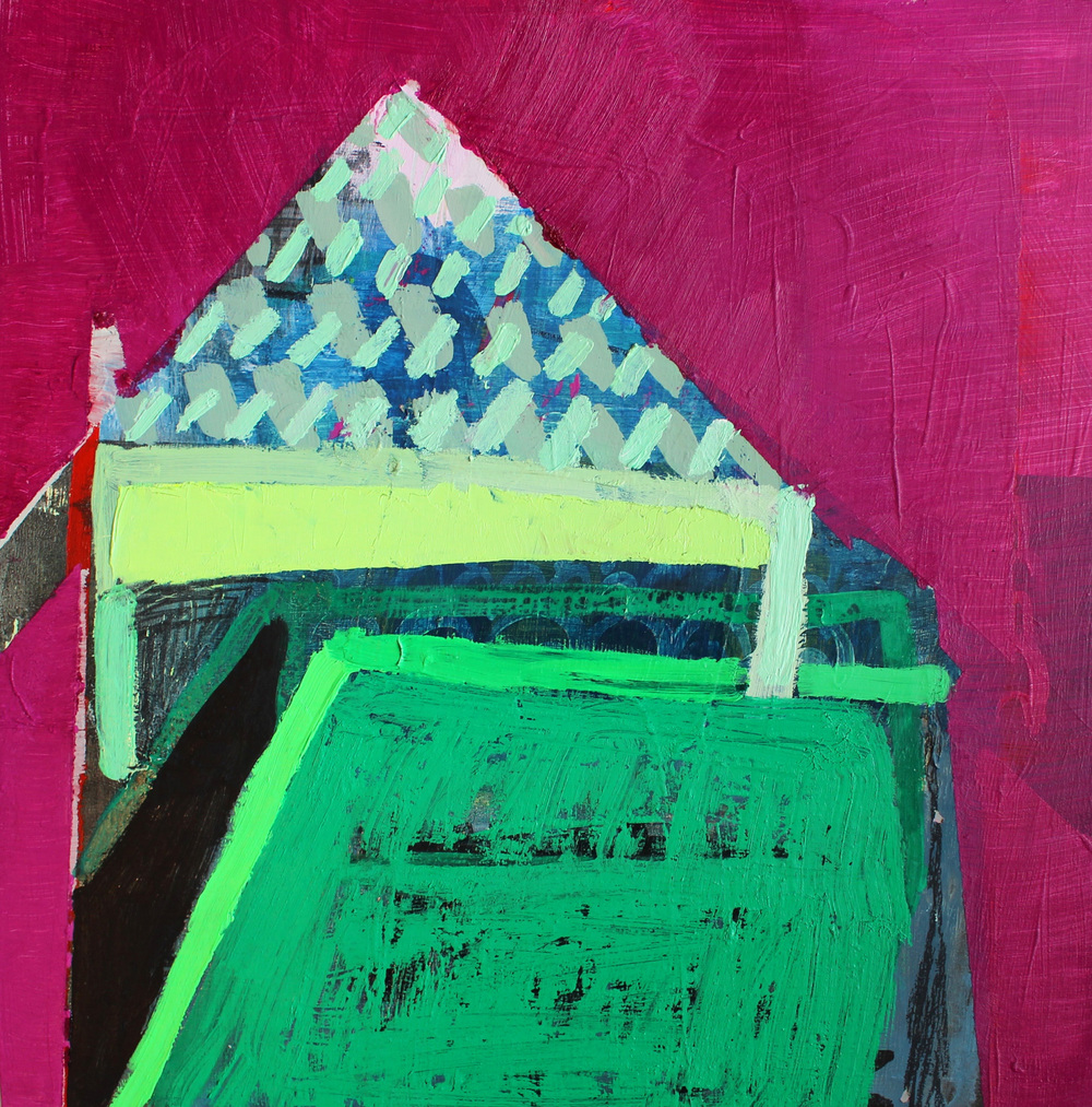 Untitled (Magenta Fort) Oil and acrylic on panel 12 x 12 in.