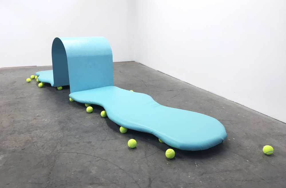 How Will I Know Steel, wood, vinyl, foam, paint, tennis balls 11ft x 3ft x 3ft 2016