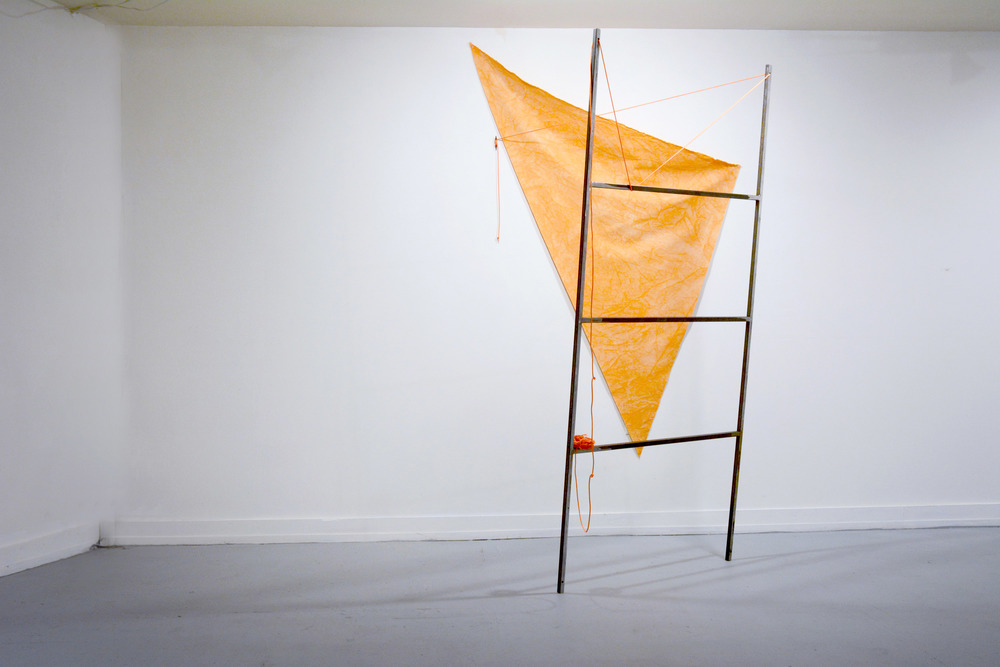 Sail Ladder...? Steel, dyed, canvas, grommets, cord 7ft x 5ft x 5ft 2015