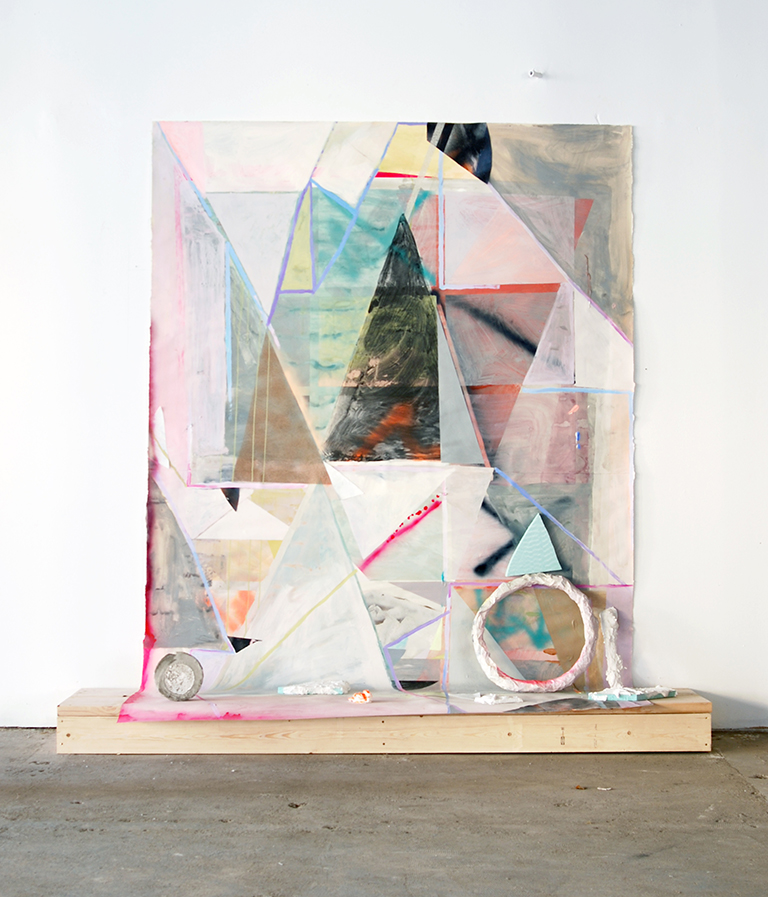 Poor Pythagoras                                                                                                             Latex, gouache, acrylic, spray paint, image transfers and collage on paper, wood, foam paper mache, plaster and cement 2014