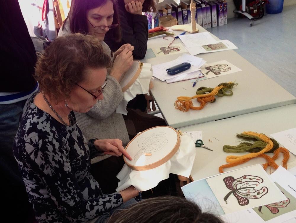 Helen demonstrates a stitch