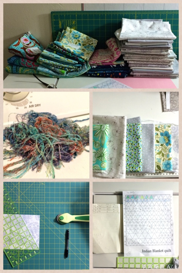 Piles of fabric; the aftermath of pre-washing; determining order; the first cut is the deepest; class notebook.