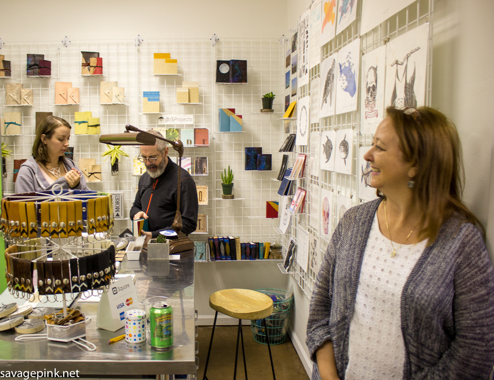 IS has a great new storefront space. Ingrid's mother, Debby (foreground) helps out at IS.
