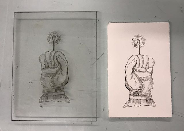 Learning drypoint etching at IS Projects. Way more fun than I thought it would be. #printmaking #drypoint #handofglory