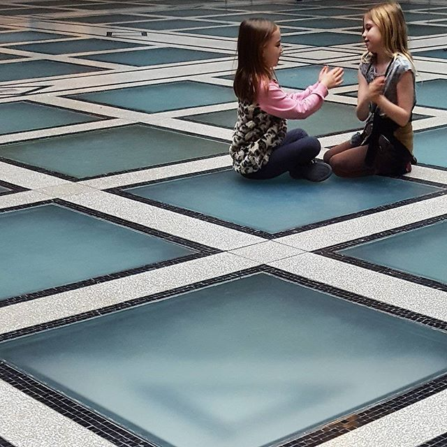 Glass checkerboard #nycinteriors #brooklynmuseum #glass #perspective #tile #museum #play #summer #brooklyn