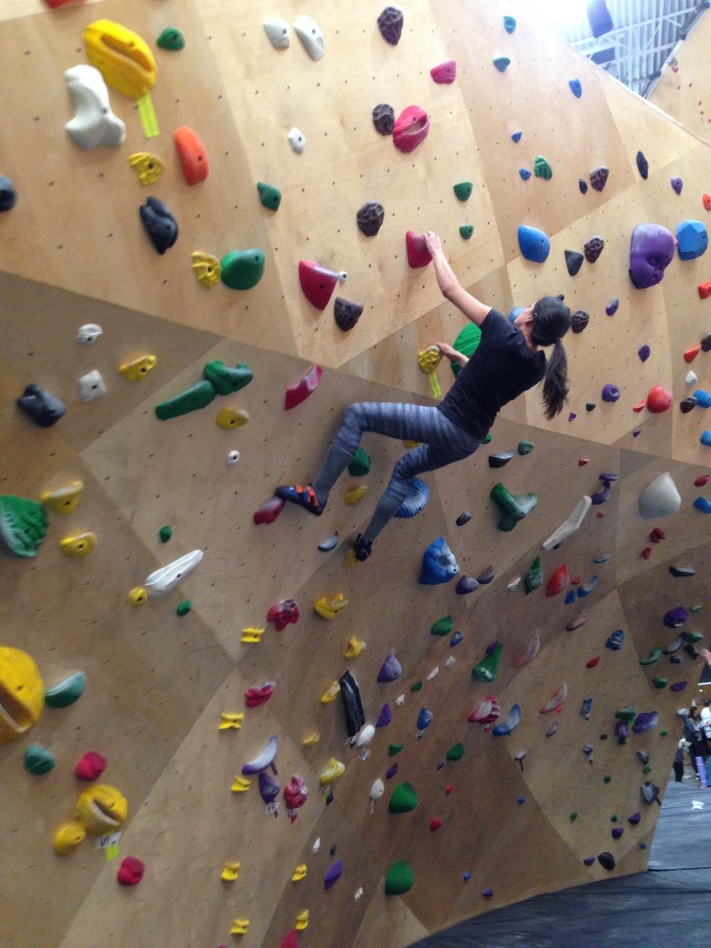 Elyse does some rad bouldering
