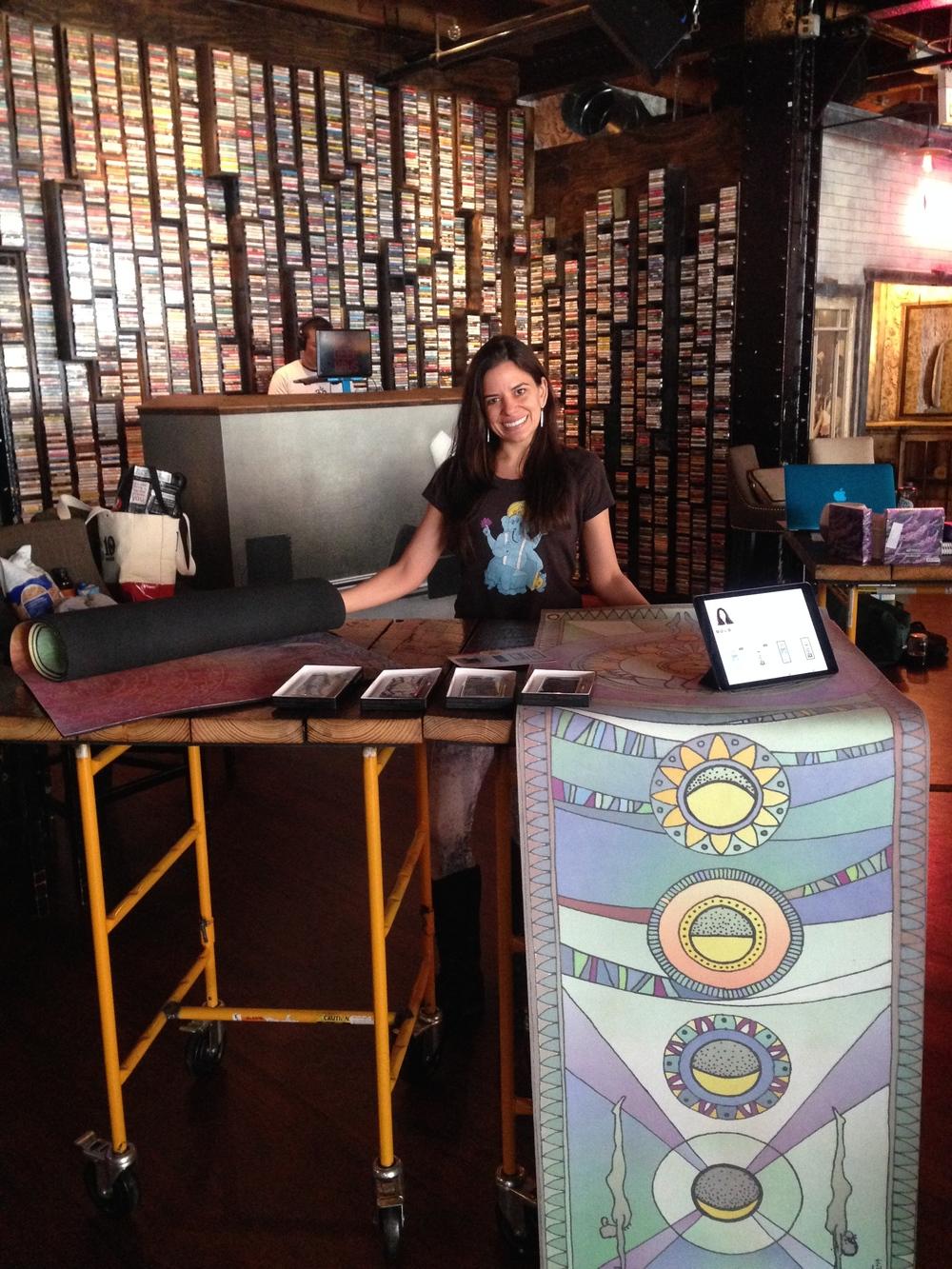 Elyse and Sankalpa Yoga setup shop at Emporium Arcade Bar!