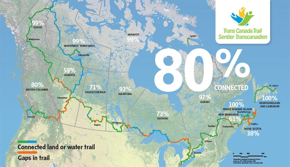 To find the Trail closest to you, explore the map on the TCT website at tctrail.ca/explore-the-trail. THE TCT  INTERACTIVE WEB MAP IS PROVIDED BY ESRI CANADA