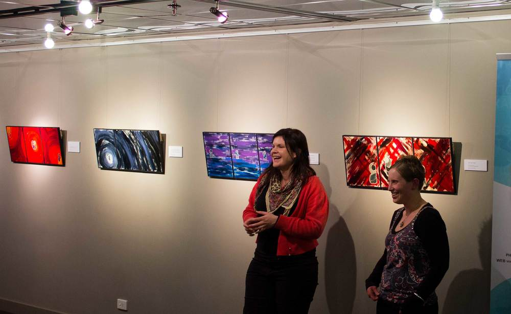 Gallery Manager Liana Magrath, and local artist Louise Addison