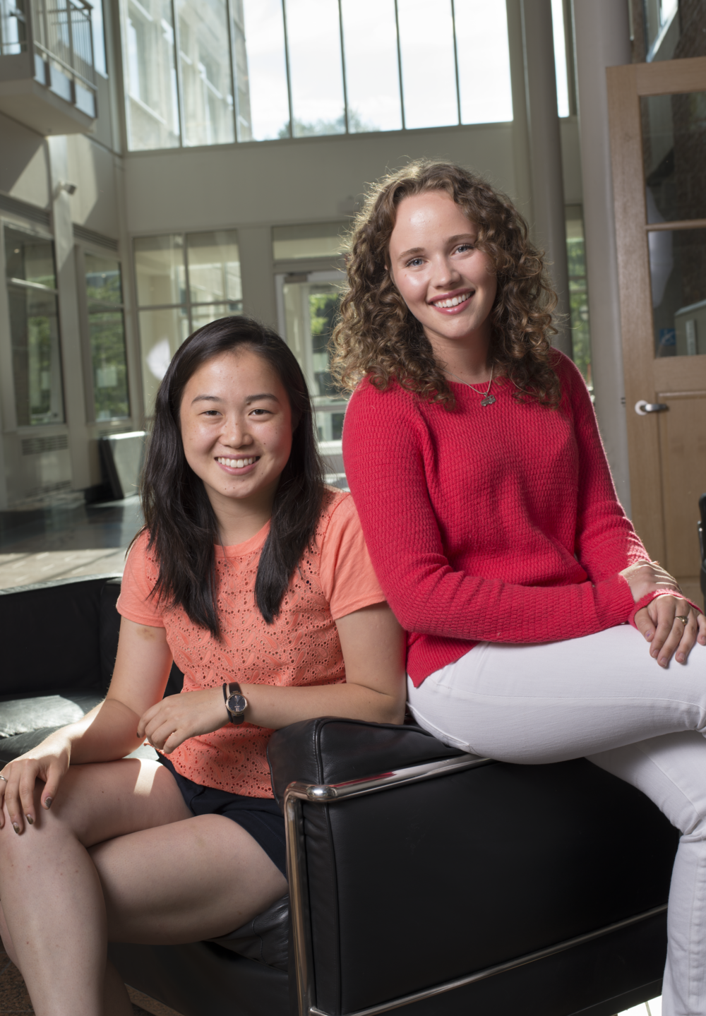 Tray Bien co-founders Shinri Kamei (left) and Krystyna Miles (right) in the Atrium of the Thayer School of Engineering
