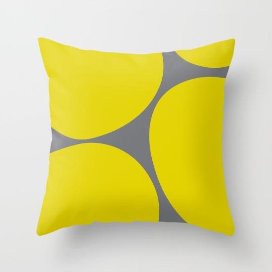 Big Dots yellow & gray pillow