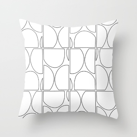 Dots Squared B& W pillow outline