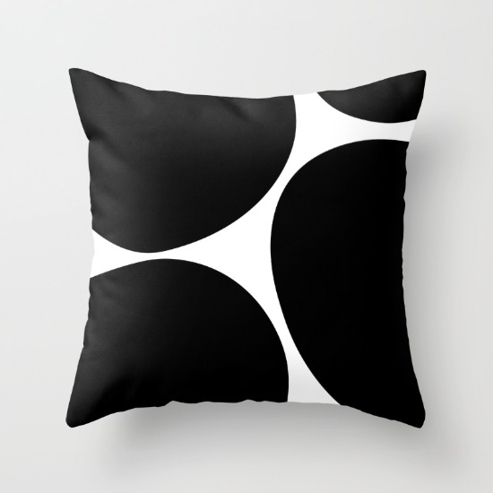 Big Dots black pillow