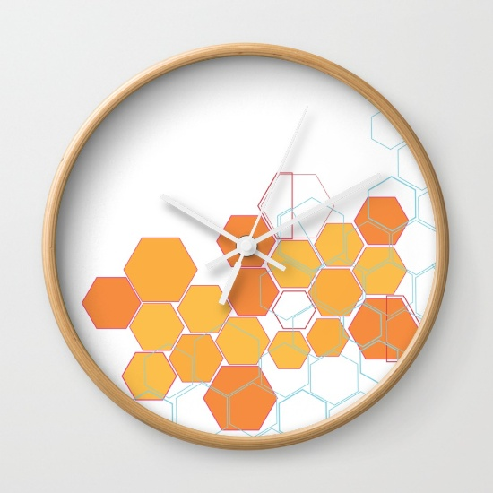 Mosaic orange wall clock