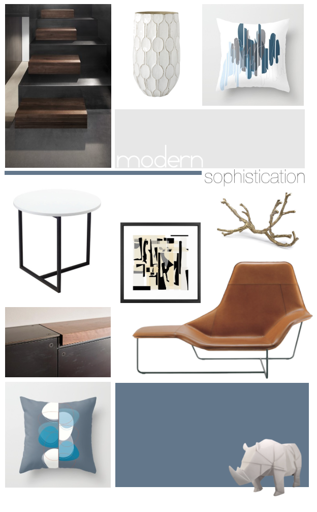 Modern Sophistication in steel blue, gray, camel, black and white