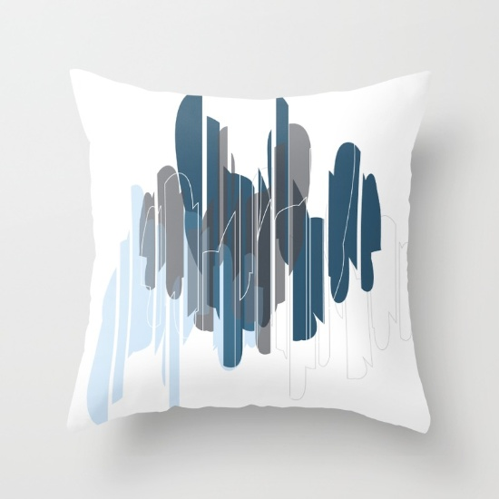Slivers in blue & gray pillow