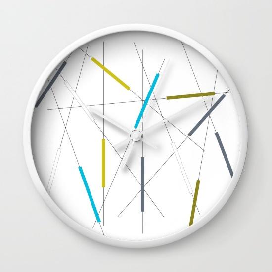 Criss Cross blue, green & gray clock