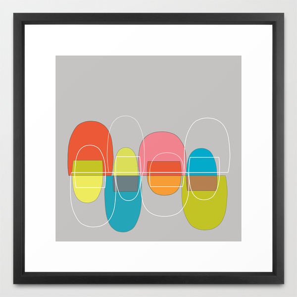 Mod Pods Multicolor framed art print  society6.com