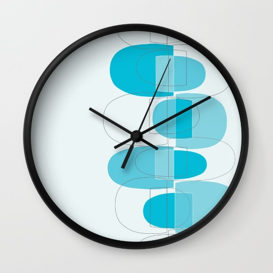 Mod Pods blue wall clock  society6.com