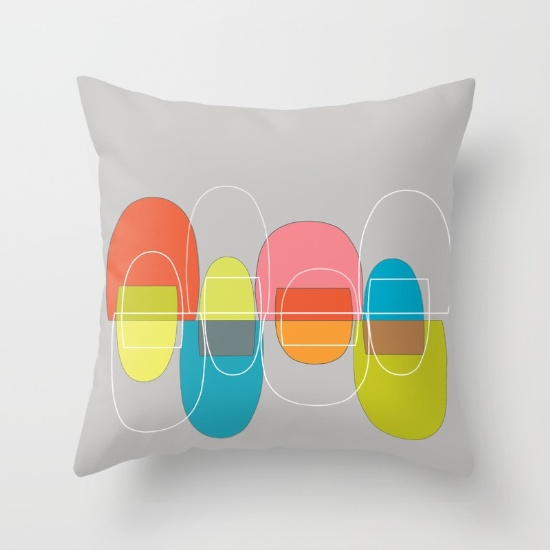 Mod Pods Multicolor throw pillow  society6.com