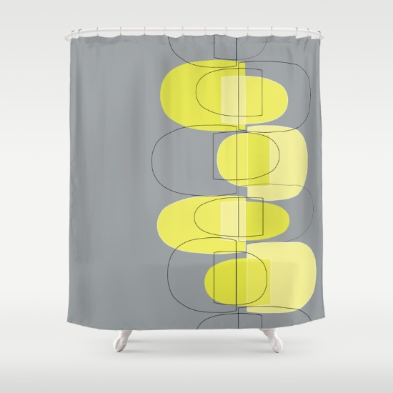 Mod Pods yellow shower curtain  society6.com