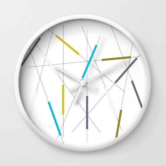 Criss Cross blue, green & gray wall clock     society6.com