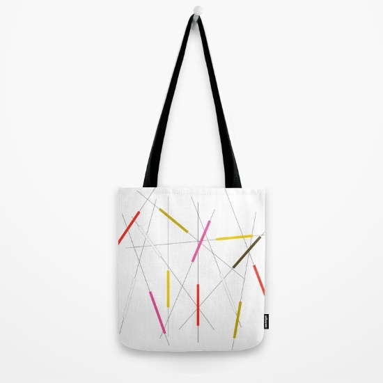 Criss Cross red, pink & green tote bag   society6.com