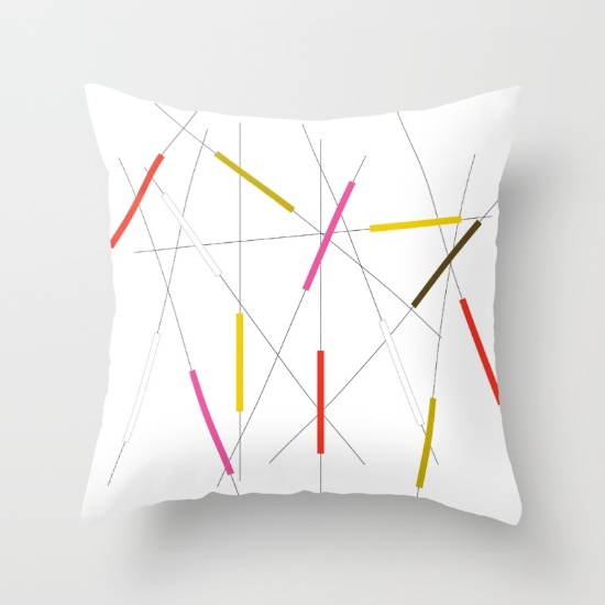 Criss Cross red, pink & green throw pillow    society6.com
