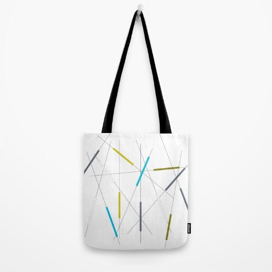 Criss Cross blue, green & gray tote bag    society6.com