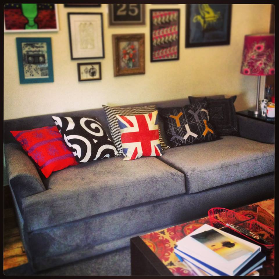 The living room in my old flat (featuring my grown-up sofa).