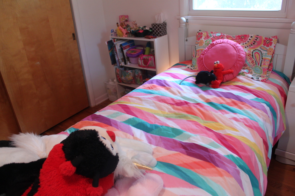 Cedella's Bed. Elmo and Scabbers (her beloved Ikea rat stuffy) look right at home on the PBTeen Duvet.