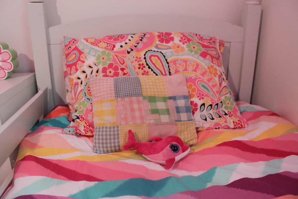Izzie's Bed. Complete with my childhood name pillow and Flippy Too (that's Flippy's little sister).