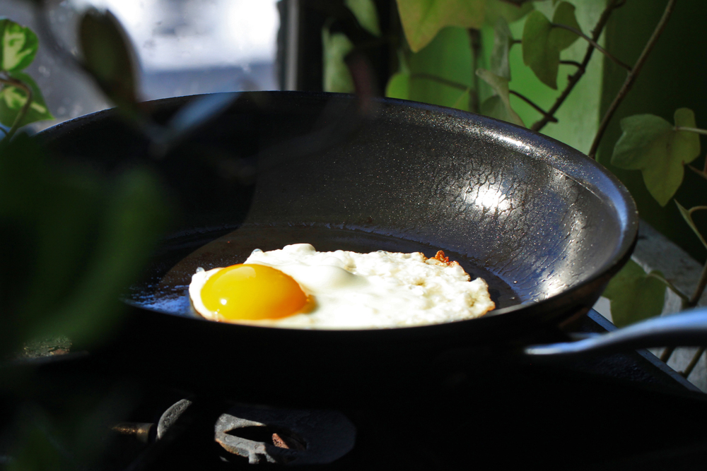 It's so easy to fry an egg. I just put a little ghee or oil on the bottom of the pan and some salt and pepper to taste. You can also play around with some spices and herbs, like chives.