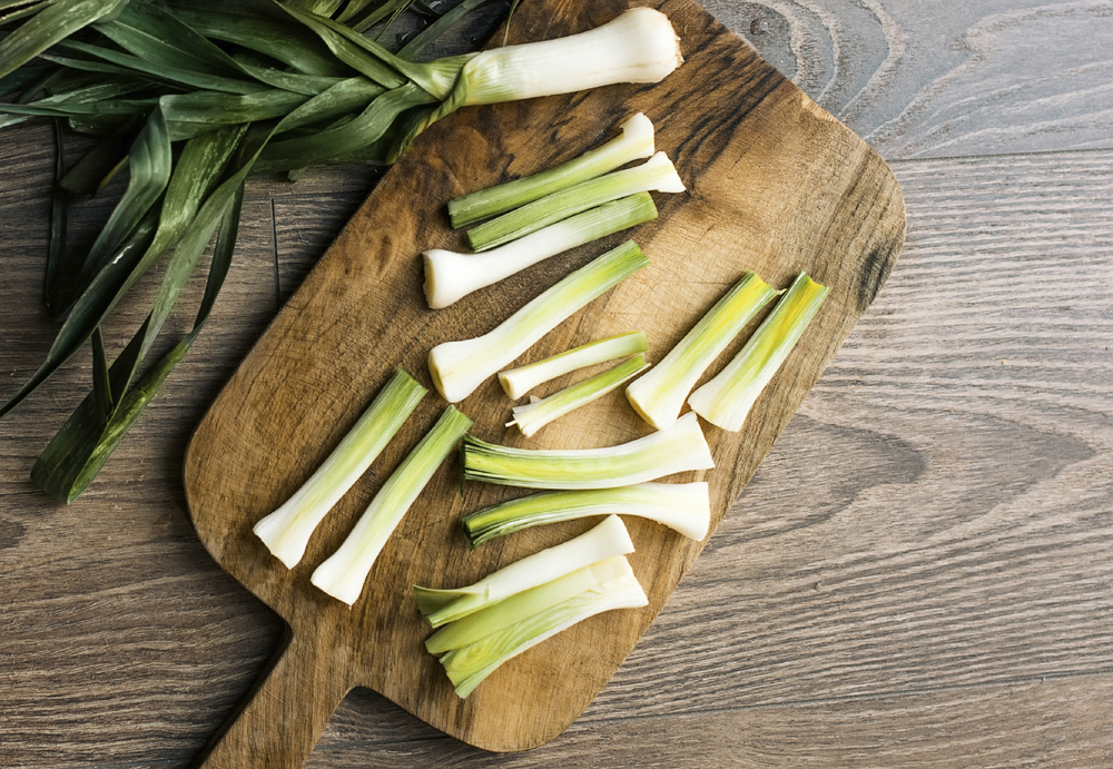 Cut up the leeks and quarter them. Make sure they are washed though. Leeks have a tendency to hold a lot of soil.