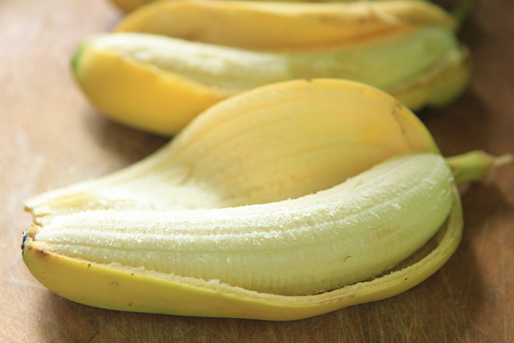 It's easiest to freeze a banana after you peel it.