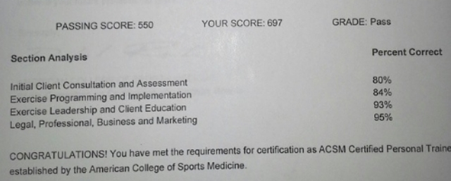 How I Passed the ACSM CPT (Certified Personal Trainer) Exam 2014 ...