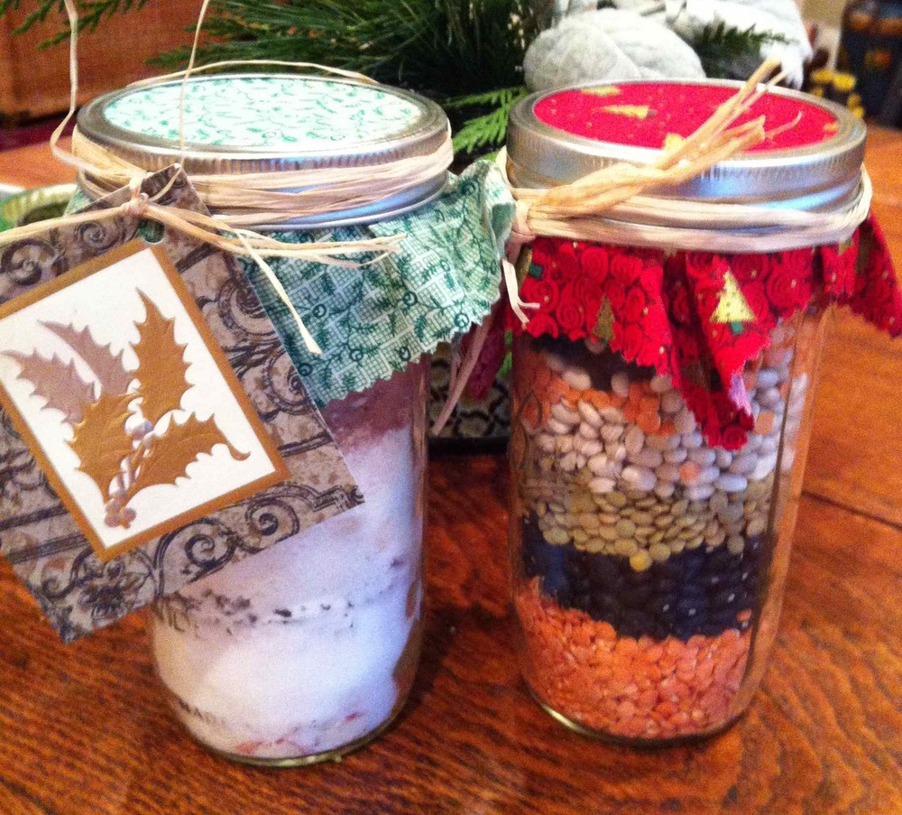 Tiered hot cocoa mix and bean soup are easy gifts to assemble with kid's help and look pretty.