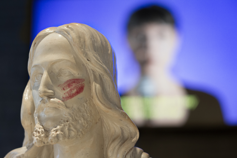 Installation view at On The Ground Floor. Julia Barbosa Landois,   Star-Crossed II , Readymade Sculpture & Video, 2013.