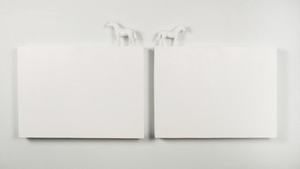 Cindy Hinant ,  The Difference Between Me and My Sister , Wood, Acrylic, Plastic Horses, 2008.