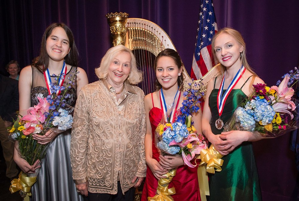With Susann McDonald and finalists of the 2016 USA International Harp Competition