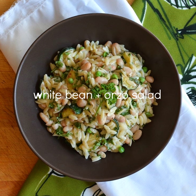 white bean + orzo salad
