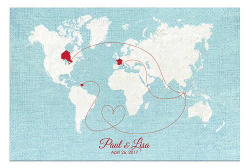Order a custom designed map for your wedding anniversary or gifts wedding guestbook red white blue map gumiabroncs Image collections
